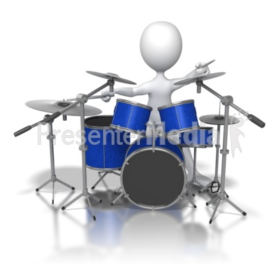 Stick Figure Jamming on Drums Presentation clipart