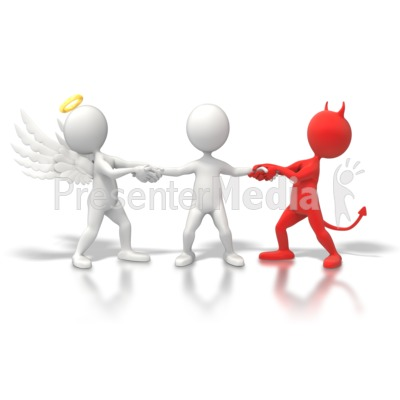 Angel Devil Tug War Presentation clipart