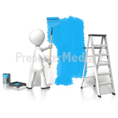 Stick Figure Painting Wall Presentation clipart