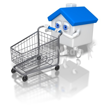 House Pushing Shopping Cart Presentation clipart