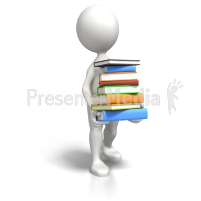 Stick Figure Carrying Book Load Presentation clipart