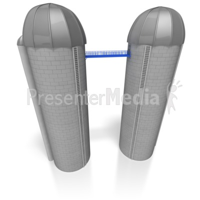 Twin Silos Connected by Bridge Presentation clipart