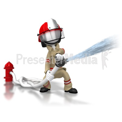 Firefighter Spraying Hose Presentation clipart