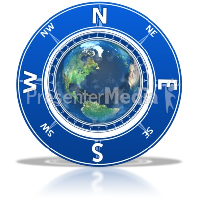Compass Around the Earth Presentation clipart