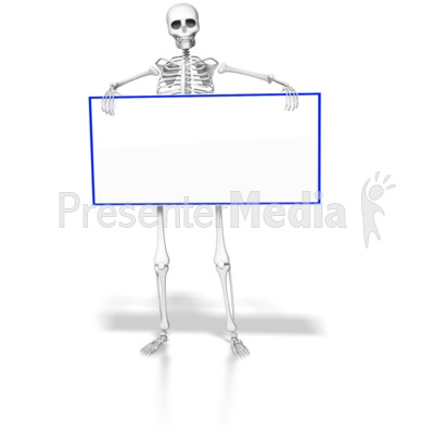 Skeleton Holding Blank Sign Presentation clipart