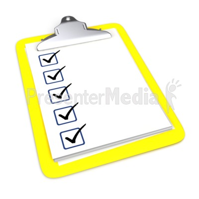 Clipboard With Five Checkmarks Presentation clipart