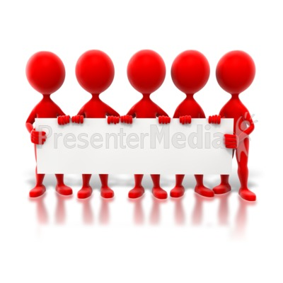 Colored Stick Figures Holding Sign Presentation clipart