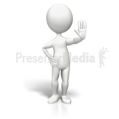 Stick Figure Hand Up Stop Presentation clipart