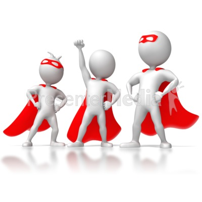 Three Stick Figure Superheros Presentation clipart