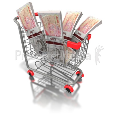 Shopping Cart British Money Presentation clipart