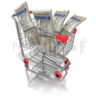 Shopping Cart with Canadian Money Presentation clipart