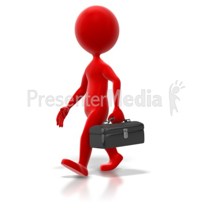 Stick Figure Toolbox Walk Colored Presentation clipart