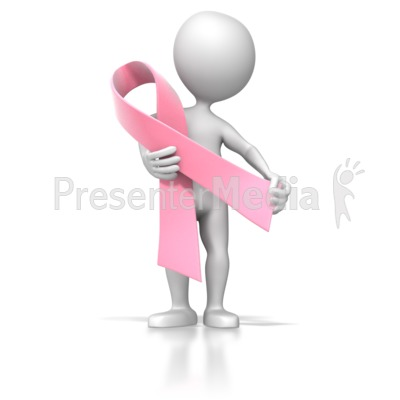 Stick Figure Holding Pink Ribbon Presentation clipart