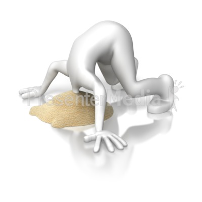 Stick Figure Head Stuck In Sand Presentation clipart