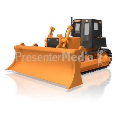 Bulldozer Parked Presentation clipart