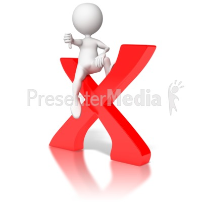 Sitting on X with Thumbs Down Presentation clipart