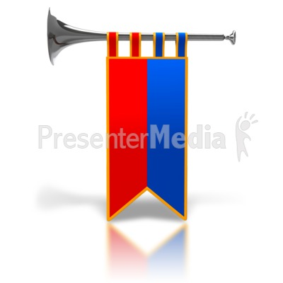 Single Trumpet Fanfare Silver Presentation clipart