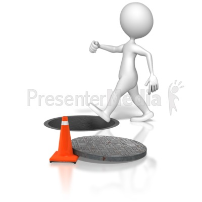 Stick Figure Walking Into Manhole Presentation clipart