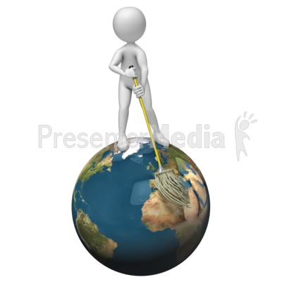 Stick Figure Mopping World Presentation clipart