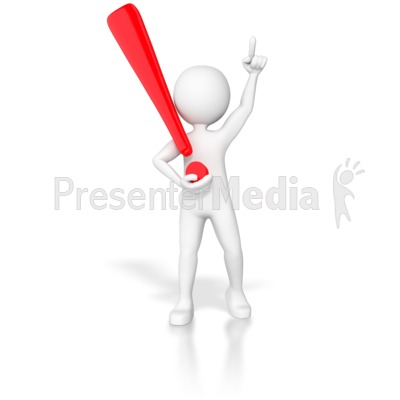 Stick Figure Holding Exclamation Point  Presentation clipart