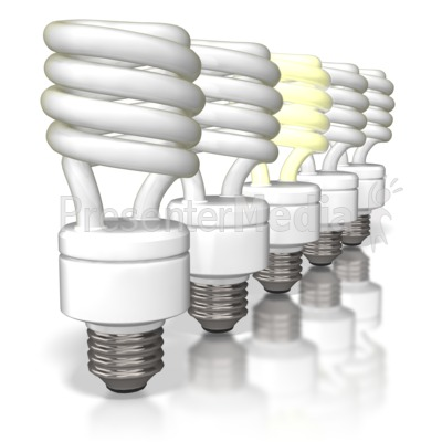 Cfl Light Bulbs Row Presentation clipart
