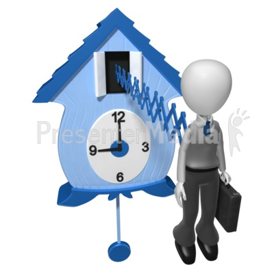 Businessman Cuckoo Clock Presentation clipart