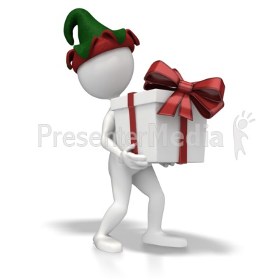 Christmas Elf Present Presentation clipart