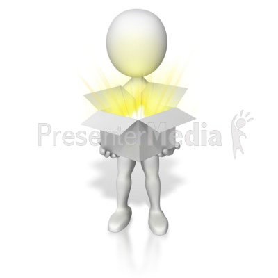 Holding Open Box Of Light Presentation clipart