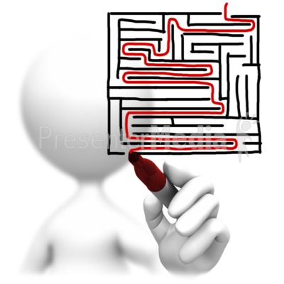 Solving A Maze Drawing Presentation clipart