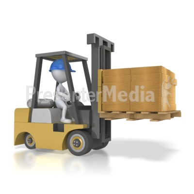 Forklift Carry Flatten Boxes Presentation clipart
