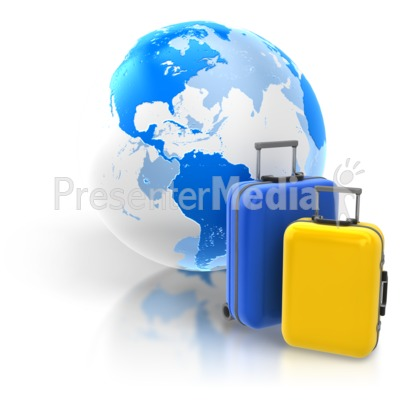 World Travel Two Luggage Presentation clipart