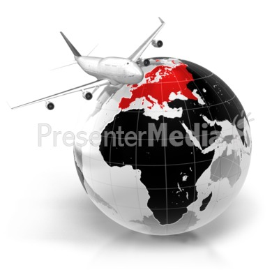 Flight To Europe Presentation clipart