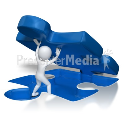Stick Figure Lifting Puzzle Piece Presentation clipart