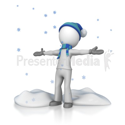 Stick Figure In Falling Snow Presentation clipart
