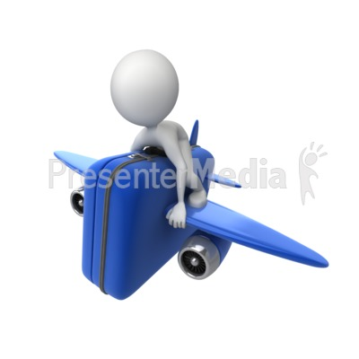 Riding Luggage Airplane Presentation clipart