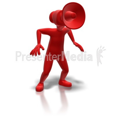 Stick Figure With Megaphone Head Presentation clipart