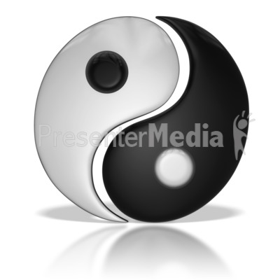Chinese Yin Yang Symbol Separated Presentation clipart