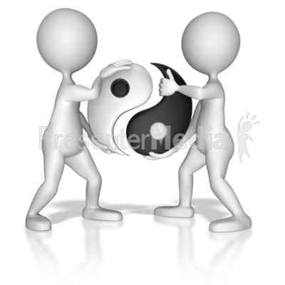 Put Together Yin Yang Symbol Presentation clipart