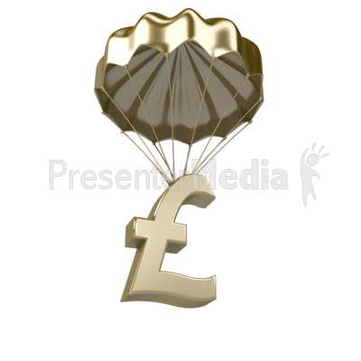 Golden Pound Parachute Presentation clipart