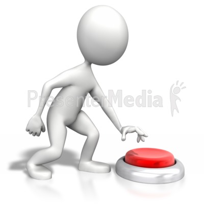 Stick Figure Pushing Large Button Presentation clipart