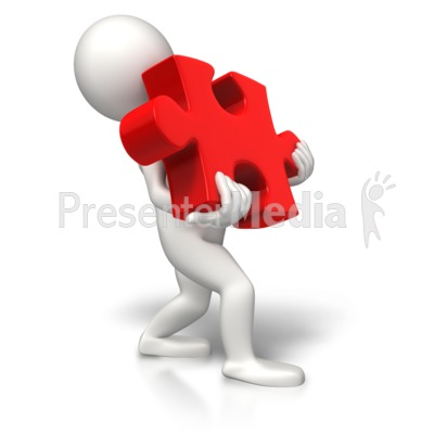 Carrying Heavy Puzzle Piece Presentation clipart