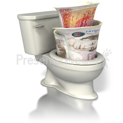 British Currency Toilet Presentation clipart