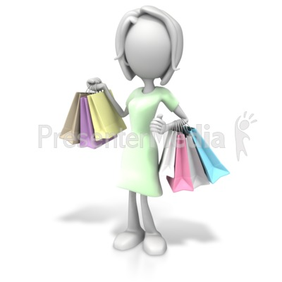 Woman Shopping Handful Presentation clipart