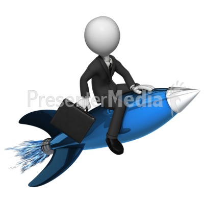 Businessman Rides Rocket Presentation clipart