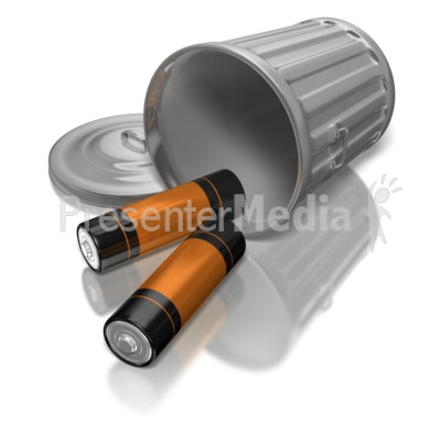 Batteries In Garbage Can Presentation clipart