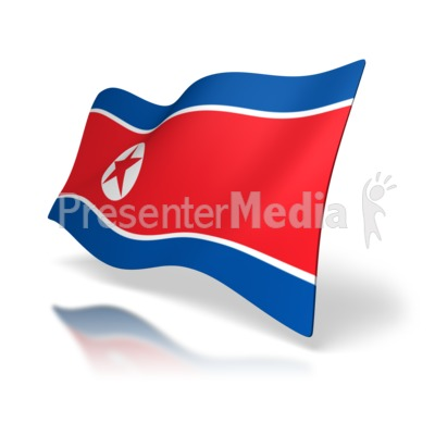 North Korean Flag Perspective Presentation clipart