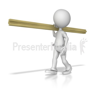 Stick Figure Carpenter Carrying Wood Presentation clipart