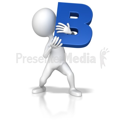 Stick Figure Holding Letter B Presentation clipart