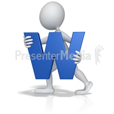 Stick Figure Holding Letter W Presentation clipart