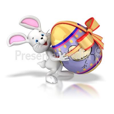 Bunny Carrying Easter Egg Presentation clipart